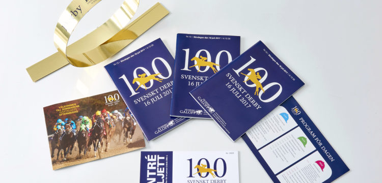 Samples of print work for the Swedish Derby